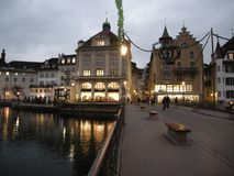 Luzern by Night cityscape Royalty Free Stock Photos
