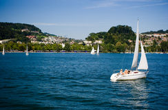 Luzern, Switzerland. An hour south of Basel and Zürich, and boasting invigorating mountain views, lake cruises and a picturesque old quarter, LUZERN (Lucerne in Royalty Free Stock Photo
