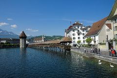 Luzern Switzerland wood bridge old city non croped Royalty Free Stock Photos