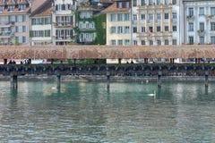 Luzern Switzerland wooden covered bridge Stock Photography