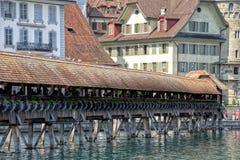 Luzern Switzerland wooden covered bridge Royalty Free Stock Photography