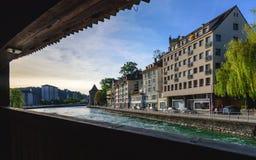 LUZERN SZWAJCARIA, MAJ, - 20: Luzern jeziorny widok dalej może 20,2016 Fotografia Stock