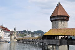 Luzern town with covered bridge Royalty Free Stock Image