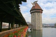 Luzern  wooden bridge. The famous wooden bridge. Luzern - Lucerna (Switzerland Royalty Free Stock Photo