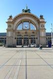Luzerne-Bahnstation in der Schweiz Stockfotografie