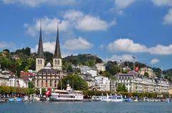 Luzerne-oder Luzern-Stadt in der Schweiz lizenzfreies stockfoto