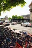 Luzerne Suisse de stationnement de bicyclette Photographie stock