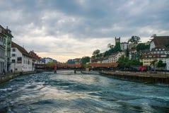 Luzerne, Switzerland - August 23, 2010:  Spreuer bridge (Spreuer Royalty Free Stock Image