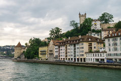 Luzerne, Switzerland - August 23, 2010: Tower of old city wall a Royalty Free Stock Photo