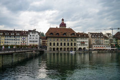 Luzerne, Switzerland - August 23, 2010: Traditional house on emb Royalty Free Stock Photography