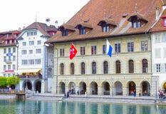 Luzerne, Zwitserland - Mei 02, 2017: Het oude huis in Luzerne, Zwitserland Royalty-vrije Stock Afbeelding