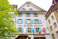 Luzerne, Zwitserland - Mei 02, 2017: Het oude huis in Luzerne, Zwitserland Stock Afbeelding