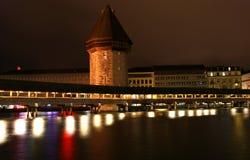 Luzerne, Zwitserland, stadsmening bij nacht Royalty-vrije Stock Foto's