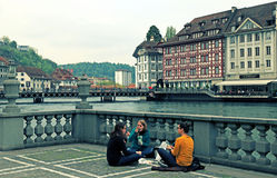 Luzernestadtansicht mit Fluss Reuss, die Schweiz Lizenzfreies Stockbild
