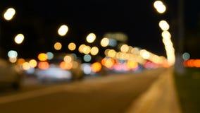 Luzes abstratas do tráfego na noite Borrado, não no foco, intencionalmente video estoque