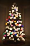 Luzes borradas da árvore de Natal. fotografia de stock royalty free