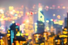 Luzes borradas da skyline de Hong Kong Imagens de Stock Royalty Free
