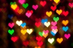 Luzes borradas dos corações Imagens de Stock Royalty Free
