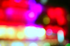 Luzes coloridas borradas da noite em Miami Beach Fotos de Stock