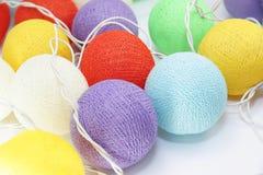 Luzes coloridas da bola de algodão Foto de Stock Royalty Free