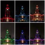 Luzes coloridas em Sydney Town Hall imagens de stock