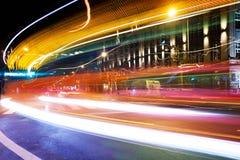 Luzes coloridas moventes do traço em Luxemburgo Imagem de Stock