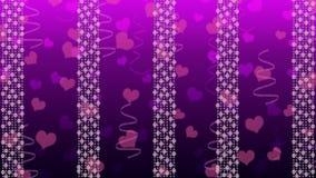 Luzes, corações e fitas brilhantes abstratos no fundo roxo de Gradated ilustração royalty free