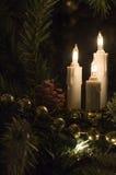 Luzes da árvore de Natal da vela Imagens de Stock