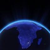 Luzes da cidade de África na noite ilustração do vetor