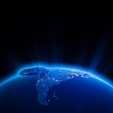 Luzes da cidade de Ámérica do Sul na noite Foto de Stock Royalty Free