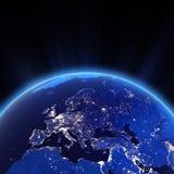Luzes da cidade de Europa na noite Imagens de Stock Royalty Free