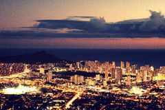 Luzes da cidade de Honolulu Foto de Stock