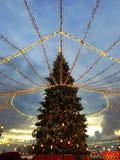 Luzes da cidade de Moscou e decorações do Natal no quadrado vermelho fotografia de stock royalty free