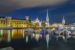 Luzes da cidade de Zurique Fotografia de Stock Royalty Free