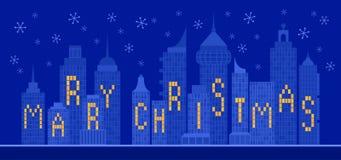Luzes da cidade do Feliz Natal ilustração stock