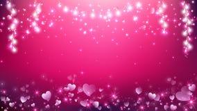 Luzes da corda de Valentine Hearts Pink Background And ilustração royalty free