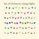 Luzes da corda do Natal Grupo do vetor Imagens de Stock Royalty Free