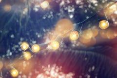 Luzes da corda que penduram em uma linha decoração fotografia de stock