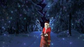 Luzes da floresta do inverno de Papai Noel ilustração do vetor