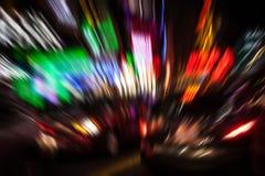 Luzes da iluminação e da noite na cidade grande Imagem de Stock
