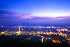Luzes da manhã sobre a cidade de Lyon, França Fotografia de Stock Royalty Free
