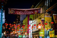 Luzes da noite do bairro chinês Imagens de Stock