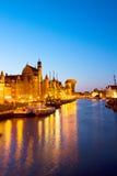 Luzes da noite do cais de Motlawa, Gdansk Imagens de Stock Royalty Free