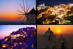 Luzes da noite e por do sol mágico em Grécia, Oia collage Imagem de Stock
