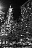 Luzes da noite em Bryant Park em preto e branco Imagem de Stock Royalty Free