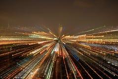 Luzes da noite no movimento Fotos de Stock Royalty Free