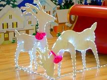 Luzes da rena do Natal Fotos de Stock