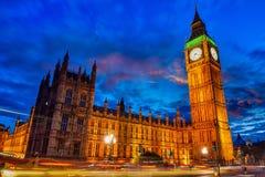 Luzes da torre de Big Ben em Londres fotos de stock royalty free