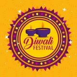 Luzes das velas de Diwali e decoração do selo ilustração do vetor