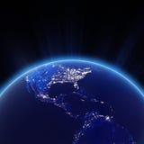 Luzes de América Central e de cidade dos EUA na noite ilustração stock